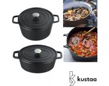 Kustaa gietijzeren casserole pannen black satin 20 of 26 cm.