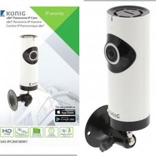 Konig HD IP-Camera 1280x720 Panorama Wit/Zwart